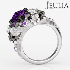 360 view of Two-skull Flower Design Princess Cut Amethyst Skull Ring