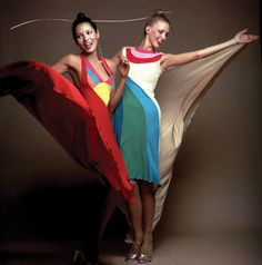 Models wearing dresses by Stephen Burrows in 1973. From Stephen Burrows: When Fashion