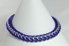 Purple and Silver Anodised Aluminium Half Persian Chainmaille Bracelet