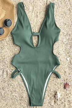 4c4d8e9dcc Cupshe Beauty Flash Solid One-piece Swimsuit Beauty Flash, Swimming Costume,  Green Swimsuit