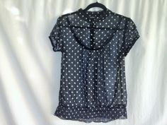 Hot Tempered Ladie's Sheer Polka Dot Lace Blouse Top M Rockabilly Vintage Design #HotTempered #Blouse #Any