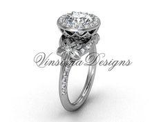 14kt white gold leaf and vine, flower engagement ring VF301009