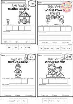 Free Sight Word Sentence Building has 10 pages of sentence building worksheets. This product will teach children to read, write and build sight sentences. Children are encouraged to use thinking skills while improving their comprehension and writing skills. These pages are great for morning work, word work and literacy centers. Preschool | Kindergarten | Kindergarten Worksheets | First Grade | Sight Word | Free Sight Word Sentence Building| Sight Word Pre-Primer | Free Lessons First Grade Worksheets, Sight Word Worksheets, Sight Word Sentences, Sight Words, Grammar Sentences, Kindergarten Writing, Kindergarten Worksheets, Kindergarten Teachers, Writing Activities