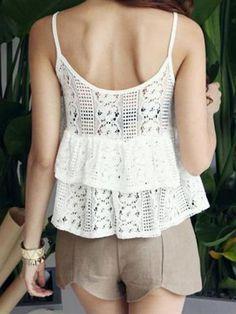 Ruffle Crochet Lace Cami Top