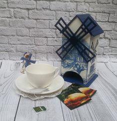 Tea storage, wooden tea box, tea house, Holland Windmill, tea bags holder, decoupage, kitchen décor, Holland souvenir, unique gift