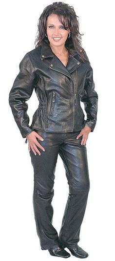 Women's Road Angel leather motorcycle jacket (item# LA265Z) from Jamin' Leather with matching low rise leather pants (item# LP711K).