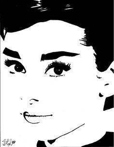 Audrey Hepburn Pop Art Drawing Print