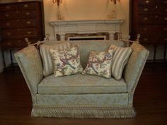 Ron Hubble - verdegris silk knole sofa with 4 throw pillows; sold on ebay for $356