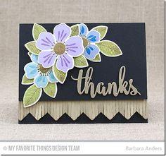 Flashy Florals Stamp Set and Die-namics, Thanks & Hello Die-namics, Chevron Fringe Die-namics - Barbara Anders  #mftstamps