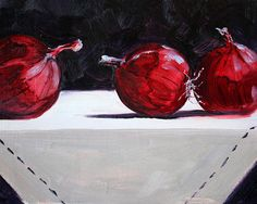 Red Onions Still Life Oil Painting by Nancy Merkle; Original and Fine Art Reproduction Prints and Posters for Sale