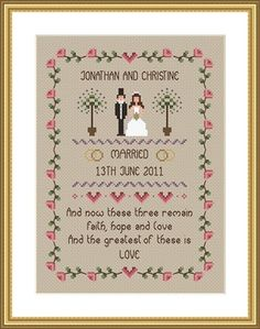 INSTANT DOWNLOAD Faith Hope and Love Wedding by littledovesamplers, £5.00