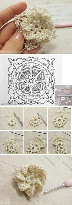 Watch The Video Splendid Crochet a Puff Flower Ideas. Wonderful Crochet a Puff Flower Ideas. Crochet Diagram, Crochet Motif, Crochet Doilies, Crochet Lace, Crochet Stitches, Crochet Puff Flower, Crochet Flower Patterns, Crochet Designs, Crochet Flowers