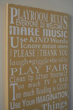 playroom rules.