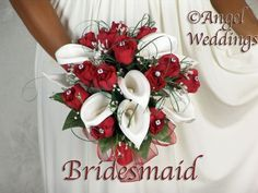 Christmas Wedding Themes, Red Wedding Decorations, Retirement Party Decorations, Pew Decorations, Prom Bouquet, Calla Lily Bouquet, Calla Lillies, Lilies, Winter Wedding Flowers