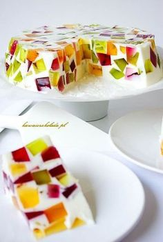 jogurtowiec galaretkowy (26) Köstliche Desserts, Delicious Desserts, Yummy Food, Tasty, Jello Recipes, Cake Recipes, Dessert Recipes, Food Design, Polish Recipes