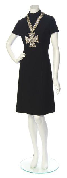 A Norman Norell Black Wool Jeweled Maltese Cross Dress.