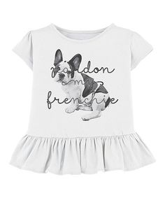 Look at this #zulilyfind! White 'Pardon My Frenchie' Ruffle-Hem Tee - Toddler & Girls #zulilyfinds