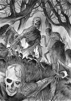 Zombies! by David Hitchcock A3, pencil/ink SOLD David is available for commissions NOW! Contact me to arrange one for yourself (or a gift!)...