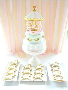 2 tiers Pink and Mint Carousel Birthday Cake and Cookies Dessert Sweets Table Cherie Kelly London