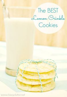 Lemon Cookies...  1/2 c. butter 1 c. granulated sugar 1/2 tsp vanilla extract 1 egg 1 tsp lemon zest 2 Tbsp lemon juice 1/4 tsp salt 1/4 tsp baking powder 1/8 teaspoon baking soda 1.5 c. flour 1/2 c powdered sugar (for rolling cookie dough balls)   Preheat oven to 350 degrees.