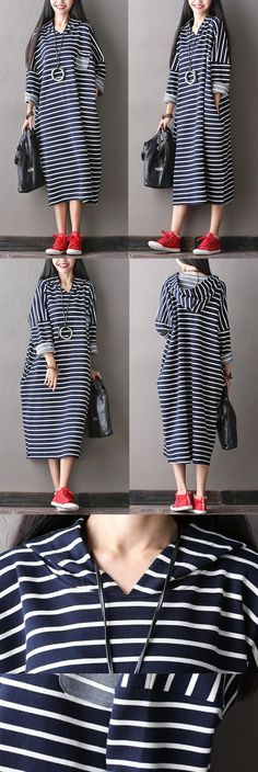 Women cotton loose long hooded dress - One size fit for S/M/L (US 6-14)