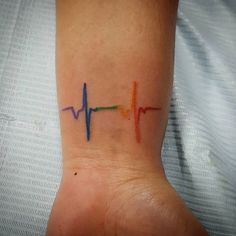 Image result for rainbow heartbeat tattoo