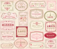 Making Memories - Je t'Adore Collection - Valentine - French Label Stickers with Metallic Accents