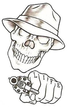 Temporary tattoo, monochrome prison style of a skull shooting a hand gun