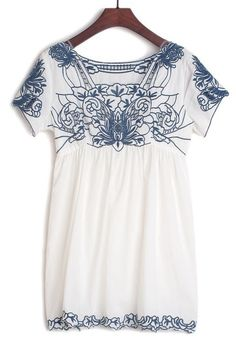 White Square Neck Short Sleeve Embroidery Dress US$36.07