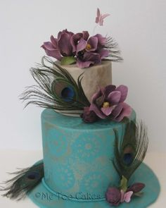 Teal Peacock with Purple Magnolias