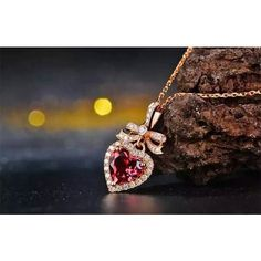 Heart 18k Rose Gold Rubellite Red Tourmaline Halo Diamond Pendant... ($640) ❤ liked on Polyvore featuring jewelry, pendants, rose gold diamond pendant, rose gold pendant necklace, pendant necklace, diamond pendant and diamond pendant necklace