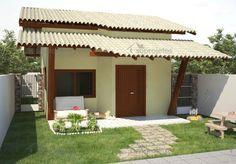 Projeto de casa térrea, com 2 quartos, 1 banheiro não conjugado, sala de estar com cozinha americana,tudo isso em uma casa pequena e charmosa, para terrenos.    <stron...