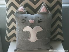 Anyone - Cat Pillow recycled from old sweat pants
