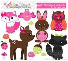 INSTANT DOWNLOAD, girls woodland animals clipart, forest clip art, for personal use, commercial use, party supply, scrapbooking
