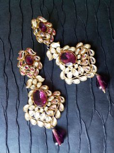 Purple Kundan Chandelier Earrings  Kundan by taneesijewelry, $89.00