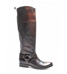 Brown Riding Boot - Frye - Melissa Harness Inside Zip - Dark Brown - New Arrivals @ dardanos.com