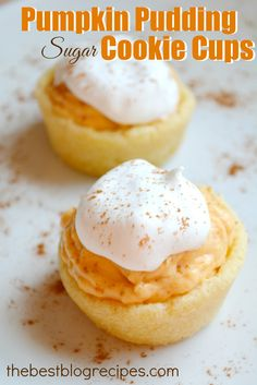 Pumpkin Pudding Sugar Cookie Cups