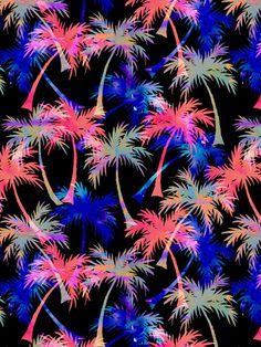 Falling Palms - Nightlight Art Print  by Schatzi Brown #tropical #pattern #palmtrees