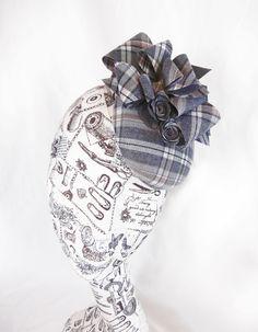 JessiCouture ~ Wool Check Pillbox Hat ~ Mini Hat ~ Fascinator