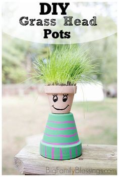 Grass Head Pots. DIY version of the Chia Pet! Great spring craft using terra-cotta pots, paint and grass seed from http://BigFamilyBlessings.com