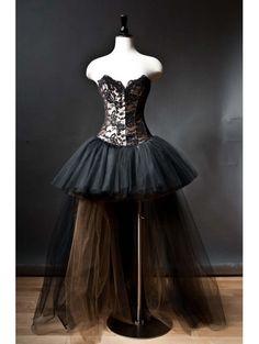 Alternative Fashion Black Romantic Gothic Corset High-Low Prom Dress