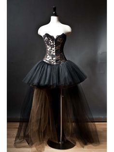 Alternative Fashion Black Romantic Gothic Corset High-Low Prom Dress