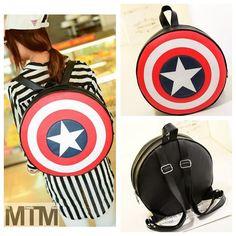 Captain America Comics Shield Avengers super hero make up party bag backpack 339