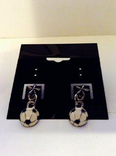 Soccer ball earrings sports jewelry Soccer by JeriAielloartstore