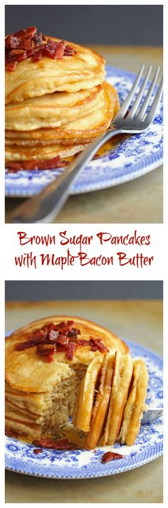 Traditional pancakes get a wake up call with the addition of brown sugar and bacon maple butter. Brown Sugar Pancakes will become your favorite breakfast. Breakfast Pancakes, What's For Breakfast, Breakfast Items, Pancakes And Waffles, Breakfast Dishes, Breakfast Recipes, Pancake Recipes, Bacon And Butter, Brown Butter