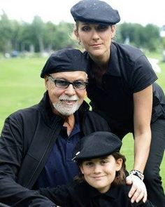 Celine Dion and Rene Angelil and son
