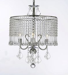 Contemporary 3-Light Crystal Chandelier Lighting With Crystal Shade! Swag Plug In-Chandelier W/ 14' Feet Of Hanging Chain And Wire! - G7-B15/1000/3