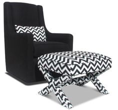 Black chair with chevron pillow & chevron ottoman