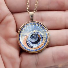 Prague Astronomical Clock Necklace Gold Plated Round Pendant   Etsy Gold Plated Necklace, Gold Pendant Necklace, Clock Necklace, Necklace Chain, Prague Astronomical Clock, Round Pendant, Deco, Plating, Pendants