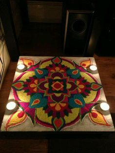 Neat traditional Rangoli, like its elaborateness